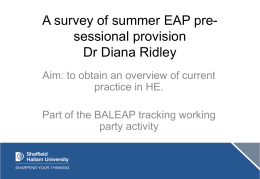 A survey of summer EAP pre-sessional provision