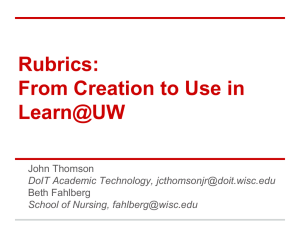 Rubrics: From Creation to Use in Learn@UW