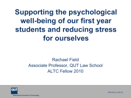 Addressing the high levels of psychological distress in law students