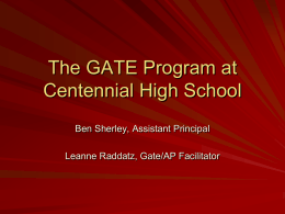 KHSD GATE Program - Centennial High School
