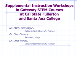 Supplemental Instruction Workshops in Gateway STEM