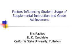 Factors Influencing Student Usage of Supplemental Instruction