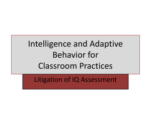 Intelligence and Adaptive Behavior for Classroom