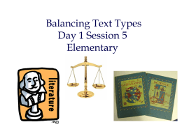 Day 1 Session 5 Elementary Balancing Text Types