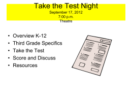 Take the Test Night May 20, 2004 7:00 p.m. VES Cafeteria