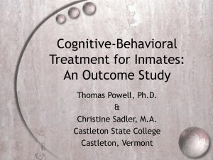 Cognitive-Behavioral Treatment for Inmates