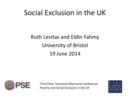 Levitas and Fahmy, Social Exclusion in the UK