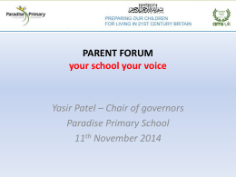 Parent Forum Nov 14 - Paradise Primary School