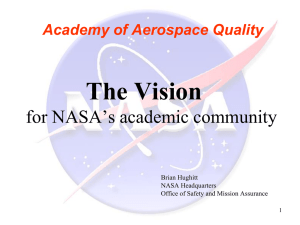 Fit of AAQ with NASA Quality Assurance Mission