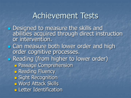 Achievement tests (administration, scoring)