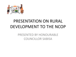 PRESENTATION ON RURAL DEVELOPMENT TO THE NCOP