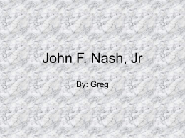 John F. Nash, Jr - Adventures In Education