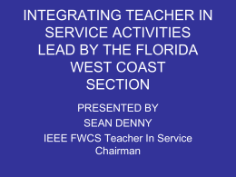 Florida West Coast Section TISP Activities