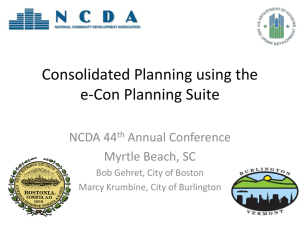 Consolidated Planning using the e