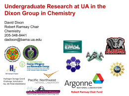 Undergraduate Research at UA in the Dixon Group in Chemistry
