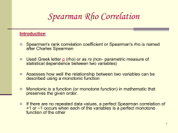Spearman`s Rho