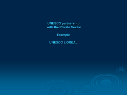 UNESCO partnership with the Private Sector Example UNESCO L