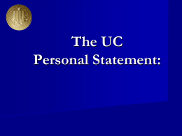 The UC Personal Statement