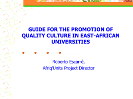 guide for the promotion of quality culture in east