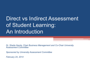 Direct vs Indirect Assessment of Student Learning: An Introduction