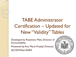 TABE Train the Trainer 2013 power point I