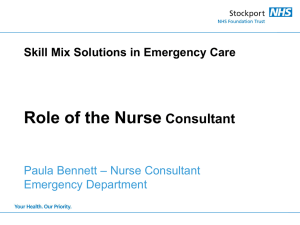 Role of the Nurse Consultant, Paula Bennett