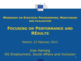 Workshop on Strategic Programming, Monitoring and evaluation