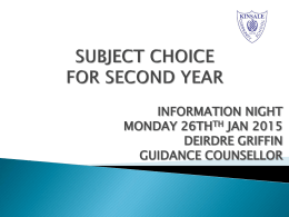 Second Year Subject Choice