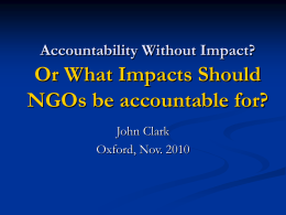 Accountability Without Impact? Or What Impacts Should