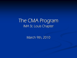 Two-part Exam Format - St. Louis IMA Chapter