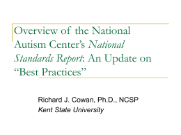 Overview of the National Autism Center`s National Standards Report