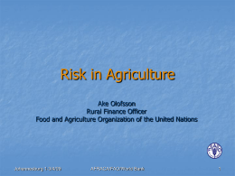 risk in agriculture - Rural Finance Learning Center