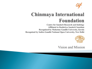 1. CIF Overview - Chinmaya International Foundation
