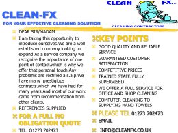 CLEAN-FX FOR YOUR EFFECTIVE CLEANING SOLUTION