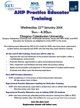 Glasgow Caledonian University AHP PE Training