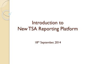 Introduction to New TSA Reporting Platform