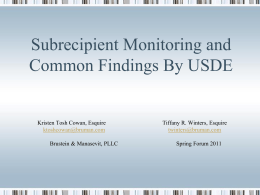 Subrecipient Monitoring and Common Findings By USDE