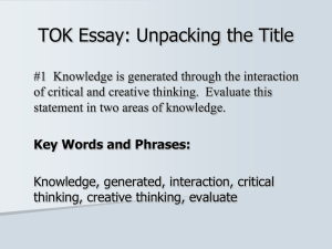 TOK Essay: Unpacking the Title