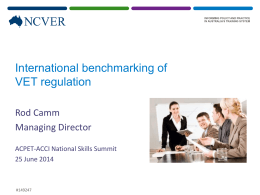 International benchmarking of VET regulation