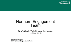 Department for Transport: Northern Engagment Team
