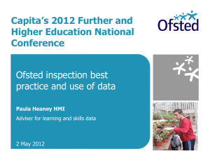Paula Heaney of Ofsted - Capita Further and Higher Education