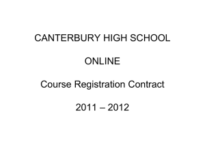 Course Registration Contract 2009 - 2010