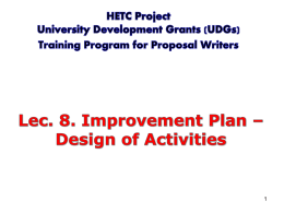 Lec 8. Improvement Plan - Design of Activities by APA