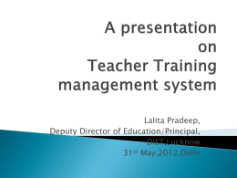 A presentation on Teacher Training management system