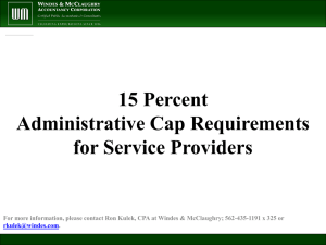 15% Administrative Cap Requirements