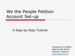 We the People Account Set-up