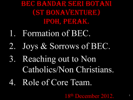 BEC – THE JOYS & SORROWS