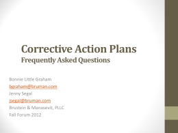 Corrective action plans