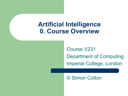Artificial Intelligence 0. Course Overview
