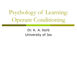 Operant Conditioning - Educational Psychology